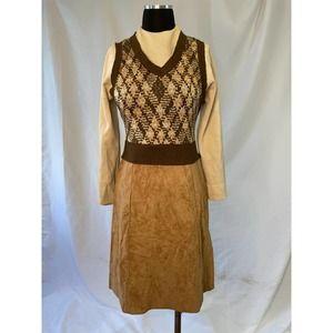 Vintage 70s Faux Suede and Knit Dress - Preppy